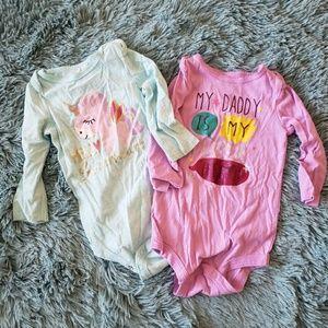 Girls Set of Two Long Sleeve Onesies
